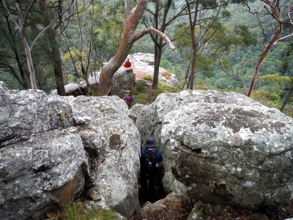 Looking down over some huge rocks with people in the foreground on the Watagan National Park Discovery Tour